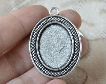 5 pcs of  Antique silver Oval Cabochon pendant tray (Cabochon size 18x25mm),Pendant findings,lacework findings,cabochon blank findings