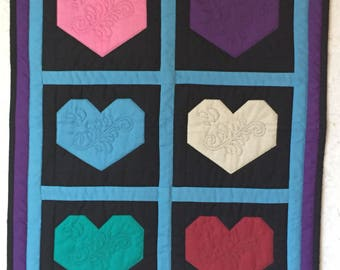 Quilted Heart wall hanging / mini quilt in blue, purple and black