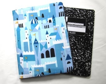 Reusable Composition Book Cover with Pocket featuring Castle Fabric (Comp book included)