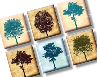 Among the Trees scrabble tile images 0.75x0.83 inch. Two 4x6'' Collage Sheets for scrabble pendants. Nature vintage style digital download