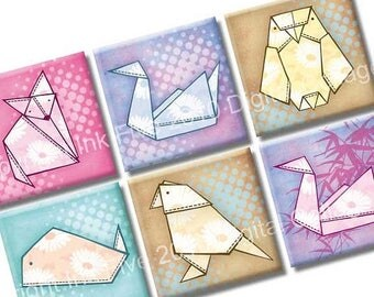 Digital Collage Sheet Origami Animals 1x1 inch squares for jewelry, magnets, scrapbook. Digital download oragami japanese paper images