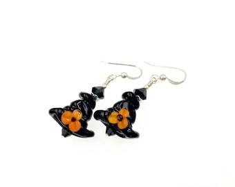 Artisan Lampwork Earrings, Black Witch Hat Earrings, Halloween Earrings, Spooky Drop Earrings, Halloween Jewelry, Glass Bead Earrings