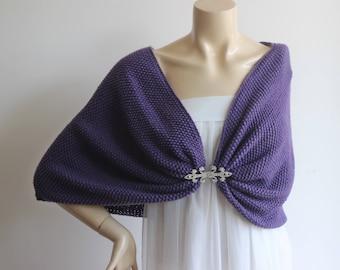 Lapis Purple Capelet / Wedding Wrap Shrug/Hand Knit Acrylic shawl-vegan scarf-Lapis Purple Wedding Cape  with Rhinestone Hook and Eye Button