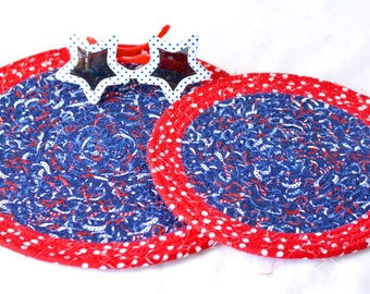 Red Fabric Trivets, 2 Patriotic Mug Rugs, Handmade Quilted Trivet Set of 2,  Labor Day Decoration, Stars and Stripes Table Topper
