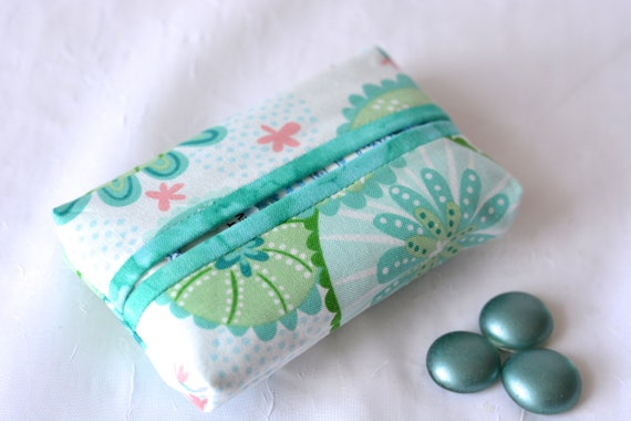Bachelorette Party favor, Kleenex Pocket Tissue Holder, Handmade Travel Tissue Case, Lovely Party Favor, Purse Pouch, Aqua Case