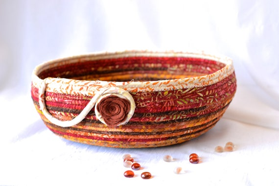 Decorative Rustic Red Basket, Storage Organizer, Handmade Fiber Art Bowl, Modern Cotton Pet Bed Furniture, Batik Fabric Basket, Cat Bed