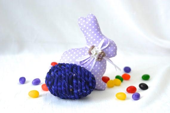 Purple Easter Egg, Handmade Easter Decoration, Basket Filler, Violet Easter Egg, Fun Easter Egg Hunt Egg, Bowl Filler, Coiled Fabric Egg