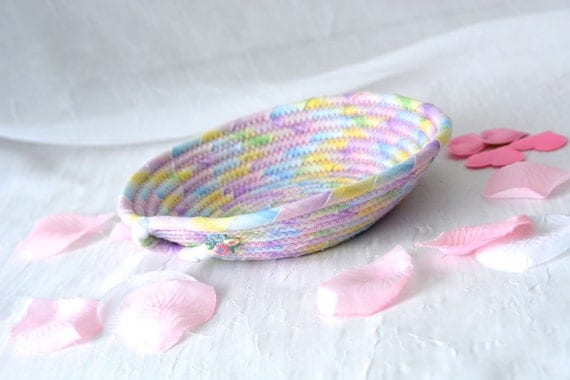 Spring Easter Basket, Handmade Artisan Bowl, Cute Key Tray, Desk Accessory Basket, Pink Artisan Quilted Bowl, Bling Ring Dish