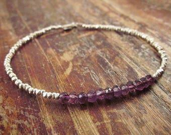 Amethyst Bracelet, Amethyst Bracelets, February Birthstone Bracelet, Beaded Bracelets, Amethyst Jewelry, Womens Gift, Amethyst Gemstone