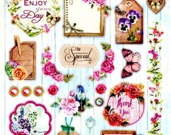 46 - 1 sheet of die cut flowers beautiful images