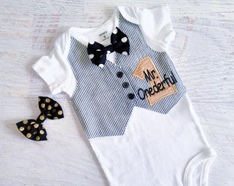 Mr. Onederful First Birthday Tuxedo Bodysuit Vest with Choice of Removable Bow Tie