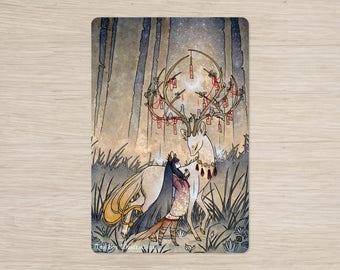 The Wish / Kitsune Fox Girl, Yokai, Deer / Japanese Asian Style / 4x6 Glossy Postcard Rounded Corners