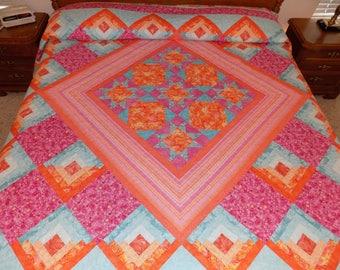 King log cabin stars handmade quilt 110 x110