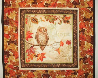 Fall Table Topper, Thanksgiving, handmade, quilted, fall leaves, owl, Wall hanging
