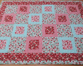 Floral handmade square in square lap quilt  70.5 x 51