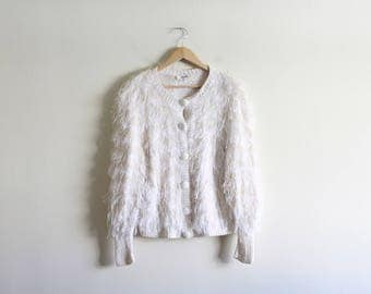 Vintage White Shaggy Cardigan Sweater / 80's Vintage Sweater / White Shag Sweater / Loose Oversized Boho High Fashion