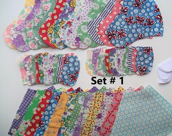 12 Sunbonnet Sue appliques die cut from 1930's reproduction cotton fabric for quilt blocks or tops