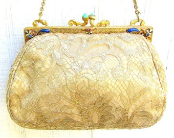RESERVED Antique Victorian Purse with Gilded Brass & enamel Frame Set with Rhinestones - 1890s Frame with Redone Gold Lace Textile