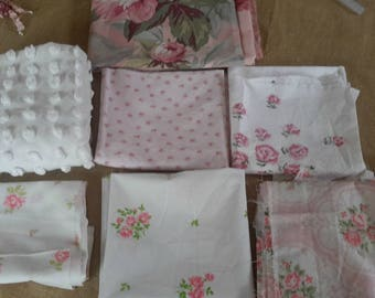 shabby roses destash FABRIC STACK 9 pcs chenille+cottons mixed lot crafting sewing