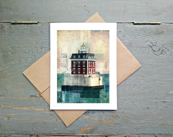 """Lighthouse Card, 5x7"""" Greeting Card, Mixed Media Card, Recycled Card, Eco-Friendly, Connecticut Card, CT lighthouse """"New London Ledge Light"""""""