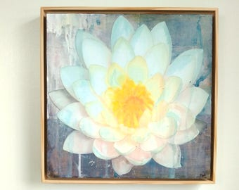 """Flower Art, Water Lily Art, 12""""x12"""" Original in a 13x13 floating frame, Floral Art, Lotus Art, Mixed Media Painting, """"Water Lily III"""""""