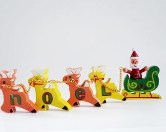 Vintage Wood NOEL Candle Holder Set, Vintage Christmas Candle Decorations, Santa Sleigh and Deer Candle Holders, Kitsch Holiday Decorations