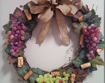 "Grapevine Wreath, 18"" with Grapes, Wine Corks, Great for Wine Lovers"