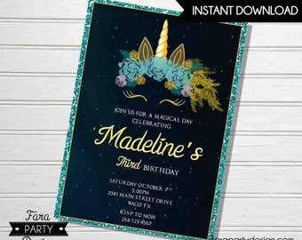 Unicorn Birthday Party PRINTABLE Invitation by Fara Party Design | Black Unicorn | Galaxy unicorn | Digital Invitation