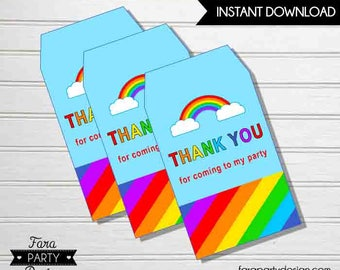 Rainbow Birthday Party PRINTABLE Favor Tags by Fara Party Design |Rainbow Party | Ponies | Rainbow Favors