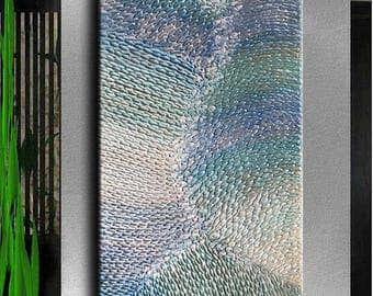 Painting Ready Impasto Original Abstract Huge Texture Modern Hallway Metal Silver Blue White Purple Sculpture Painting by Je Hlobik