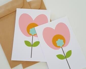 2 bloemen kaartjes lila/ geel
