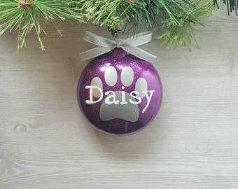 Pet Name Ornament - Paw Print Ornament - Dog Ornament - Pet Ornament - Pet Lover Gift - Cat Ornament - Personalized Pet Ornament