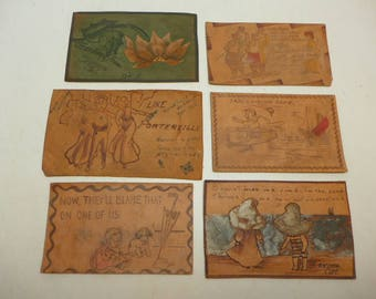 Antique Leather Post Card - Vintage Leather Post Card - Set of 6.