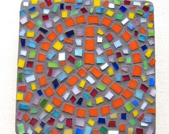 Peace, Boho, Wall Hanging, Love, Gift, Home Decor, Orange, Confetti, Mosaic, Original Art