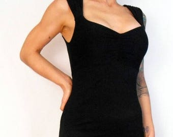 ON SALE Black  Pin Up Girl  Wiggle Dress with Trumpet Flair XXL - Ready To Ship