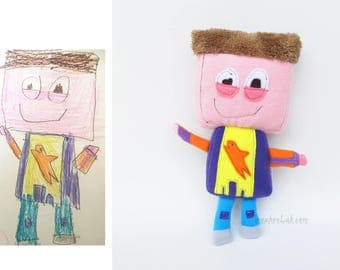 Child art turn into plush Custom plushie Kids drawing doll - MADE TO ORDER