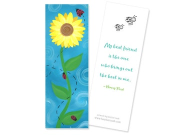 Sunflower and Ladybugs Bookmark - Best Friend Quote