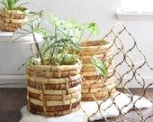large set of leaf coil basket planters / set of 3