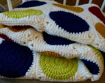 Blue Green Gold Red Circles Afghan