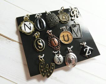 Alphabet Charms Pendants Silver Gold Copper Letter Charms Initial Charms Assorted Set N to Z Letter Pendants PREORDER