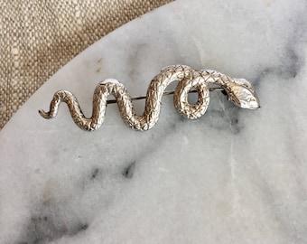Vintage Silver Magic 925 Snake Serpent Brooch