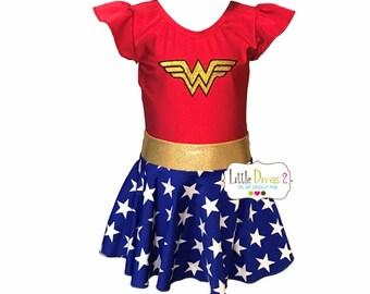 Wonder Women Leotard & Skirt (Child) Costume