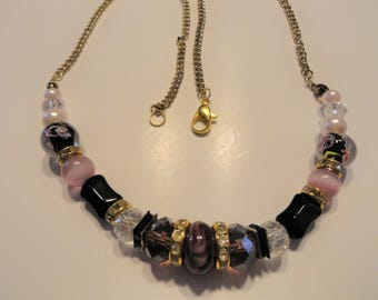cranberry glass beads necklace
