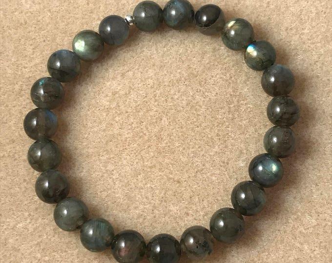 Labradorite Bracelet, Dark Labradorite Bracelet, 8mm Bracelet, Stretch Bracelet, Bead Bracelet, Beaded Bracelet, Yoga Bracelet, New Moon