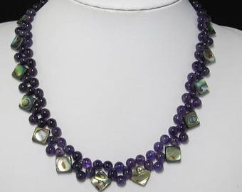 Amethyst Multi rows Abalone shell 925 Silver 19 inch necklace