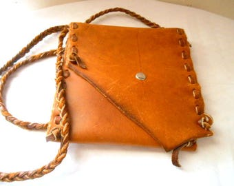 Vintage earthy natural Hand made ALL Leather small Bag