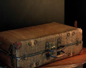 Vintage / Antique Woven Natural Straw Suitcase / Leather Handle /  Woven Rattan Luggage Suit Case