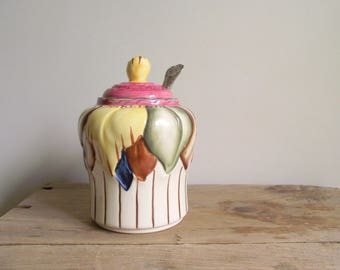 Covered Sugar Bowl , Vintage H J Wood Burslem 1940s , Covered Marmalade Pot , Hand Painted Lidded Jam Pot , Wood Ware Art Pottery No. 1750