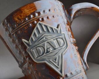 Dad Sheet Metal Mug Ready To Ship Rust Sheet Metal Stoneware Mug by Symmetrical Pottery
