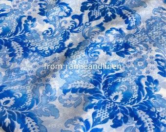 "silk fabric, 100% mulberry Silk Chiffon fabric, blue flowers on white, dress fabric, scarf fabric, half yard by 53"" wide"